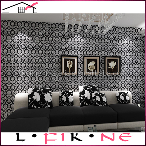 italian style unique design black vinyl silver flower luxurious wallpaper for home