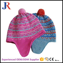 Babies Knitted multi color warm Fur crochet Bobble Beanie hat