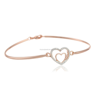 2015 New model rose gold plated 925 sterling silver heart charm crystal bangle bracelet