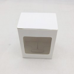 small white paper box with clear PVC window