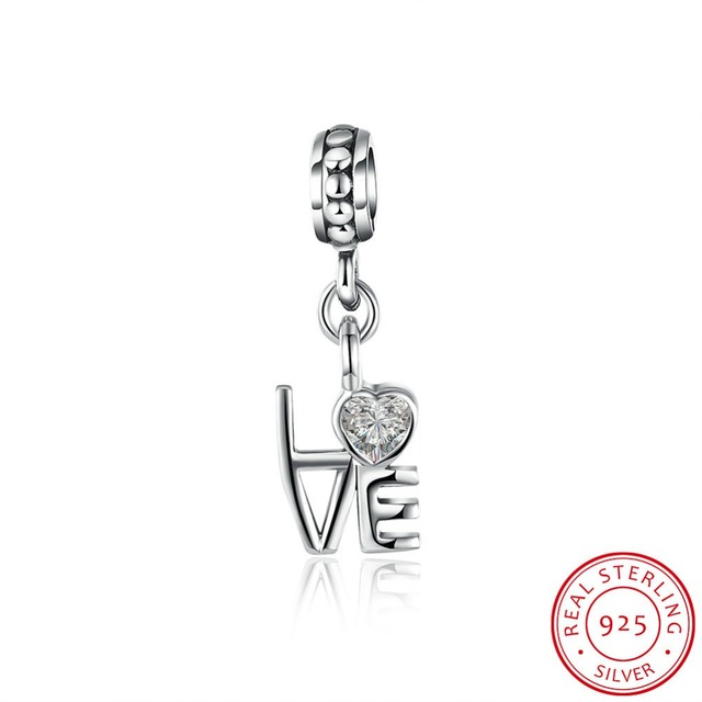 Tryme jewelry18P095 Jewelry accessories factory price 925 sterling silver vintage plated cz love letter pendant charms for brace