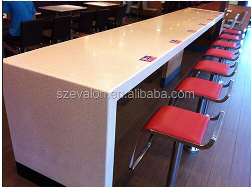 cheap price solid surface wall mounted dining table for restaurant