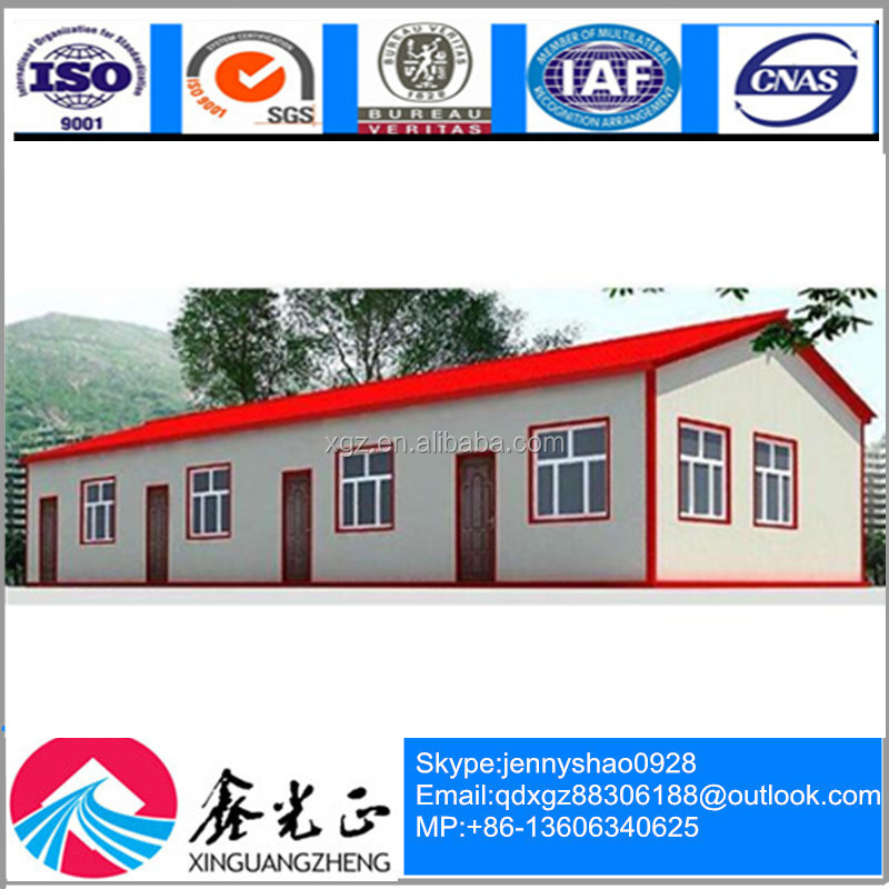 modular steel section economical modern design red roof prefab house for living
