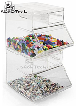 High transparency 2 tiers stackable acrylic display rack boxes for candy or biscuit