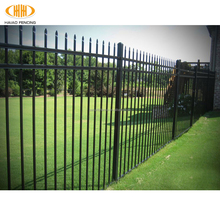 2018 powder coated used steel security decorative wrought iron garden fence