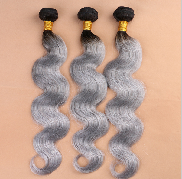 Best quality 8a grade Peruvian grey remy human hair weave ombre hair weave Peruvian body wave grey human hair weaving
