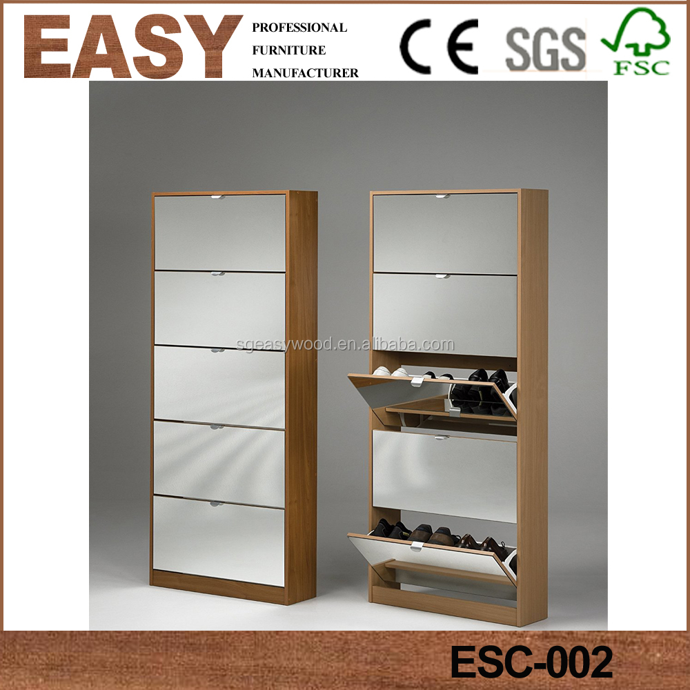 New design Stunning white melamined chipboard wooden shoe cabinet with mirror