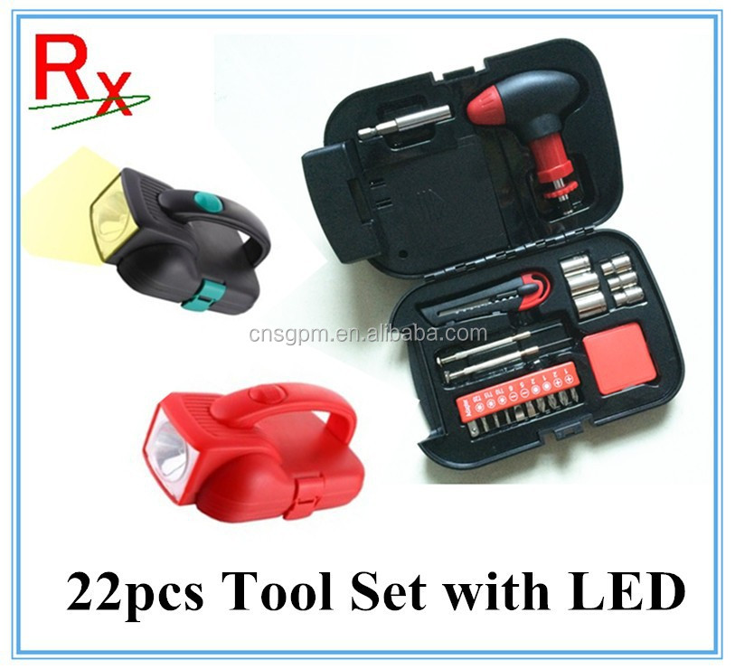 22pcs Mini tool <strong>kit</strong> with light handy light with built-in 22piece tool <strong>kit</strong>