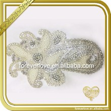 Handmade beaded rhinestone applique crystal wedding dress motif pattern FHA-074