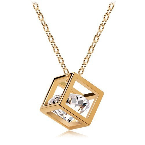 Wholesale Fashion Necklace Cubes Zircon Solid Gold <strong>Jewelry</strong>, 18k Gold Filled <strong>Jewelry</strong>