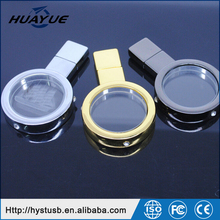 2016 OEM Gold & Silver 8GB 16GB 32GB 64GB USB 2.0 Crystal USB Stick with LED Magnifier