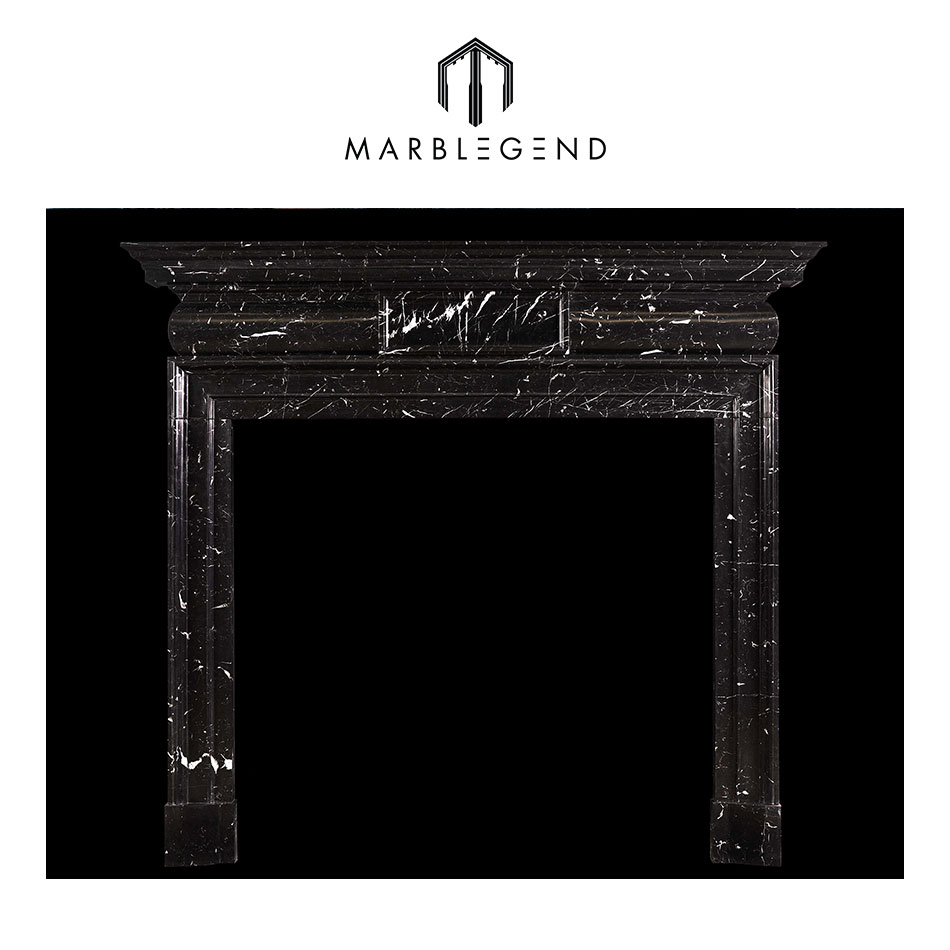 a georgian style nero marquina black marble fireplace