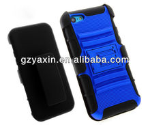 BLUE SHOCKPROOF RUGGED HARD CASE + BELT CLIP HOLSTER FOR APPLE IPHONE 5c
