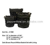 Dark brown wicker laundry basket Set With Liner