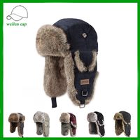 wholesale mens winter warm furry real fur trapper hat