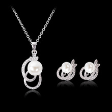2017 new fashion jewelry gifts pearl inlaid necklace earrings sets