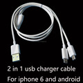2 in 1 mulitifunctional usb data charger cable for iphone 6s and Android devices 1meter 3ft oem good quality