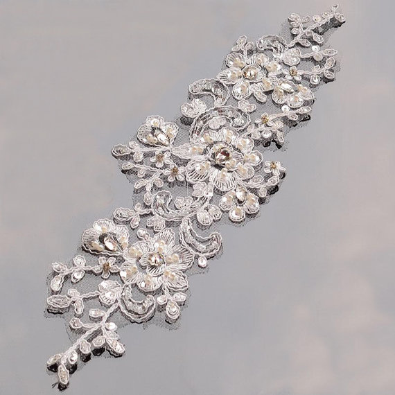 wholesale wedding flower white french beaded bridal embroidered lace applique