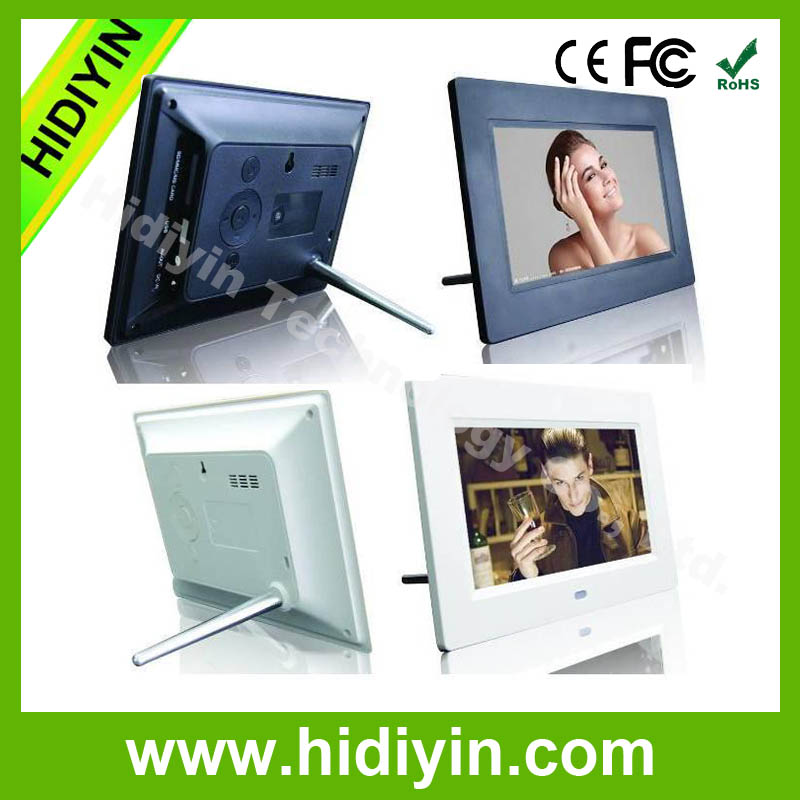 "7""small size hd led screen DPF, digital photo frame with music video auto play"