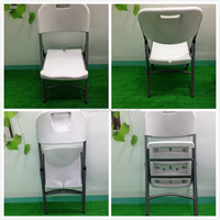 Outdoor high quality white color blow mold plastic foldable chair with 28mm metal legs(HQ-XY53)