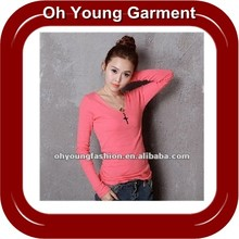 2012 New Cotton Blank Plain Dyed Long Sleeve T-Shirt of OEM Service