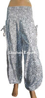 HP2577 Cotton boho harem Pants style baggy balloon casual Pantalon Harem shirred waist Ropa