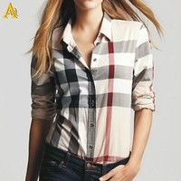 100% cotton Checked women's yarn dyed shirt and Breathable Woven Fabric Womens Check Shirt