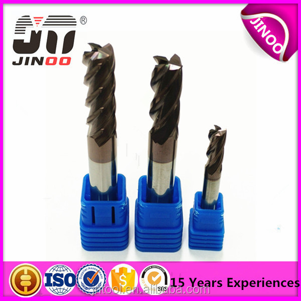 JINOO high performance end mill cnc tungsten solid carbide standard milling cutter sizes