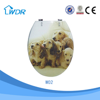 Dog picture on hygienic clean sanitary bathroom wares poly resin toilet seat cover