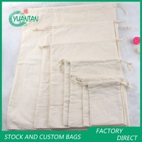 100% Cotton Drawstring Gift Bags Can Print Logo Coffee Bread Food Bag/Pocket