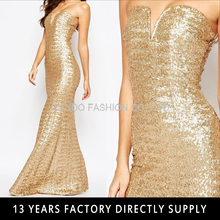 Gold Sequin Dress Maxi Floor Length Women Long Dress