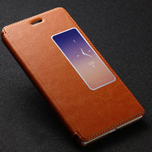 View Window Stand Genunine Real Cow Leather Flip Case For Huawei Ascend P8, For Huawe P8 Leather Phone Case