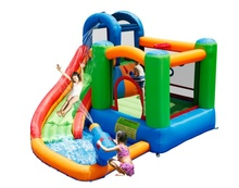 pvc cheap family mini jungle inflatable water slides with pool for summer