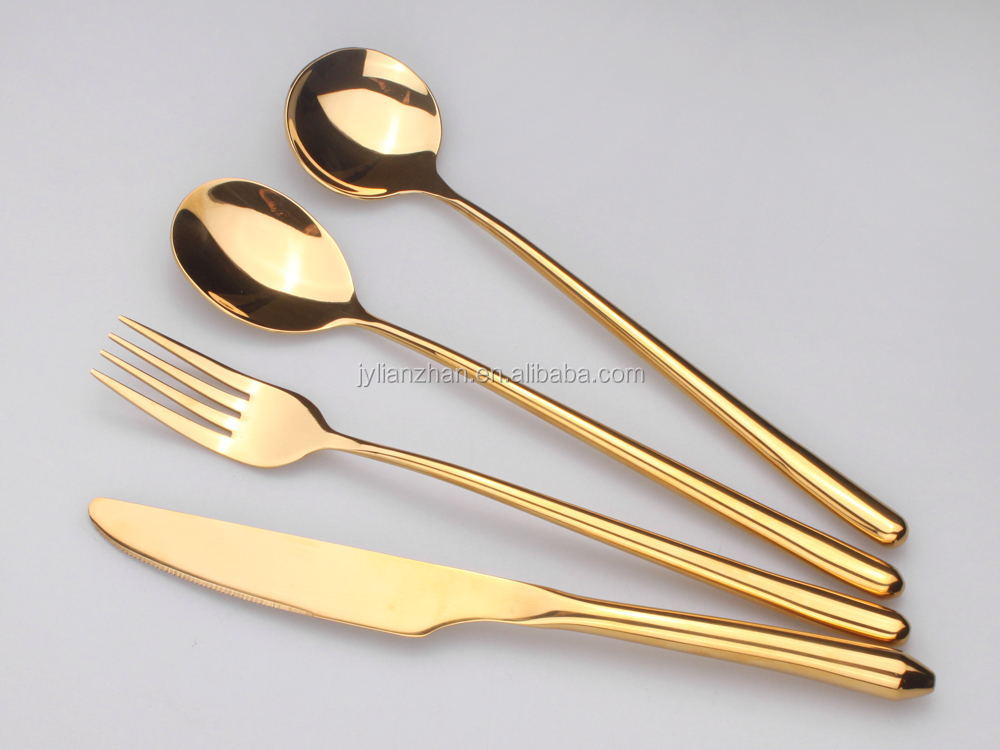 high mirror polish flatware wholesale Brand Names wholesale Rose gold plated cutlery