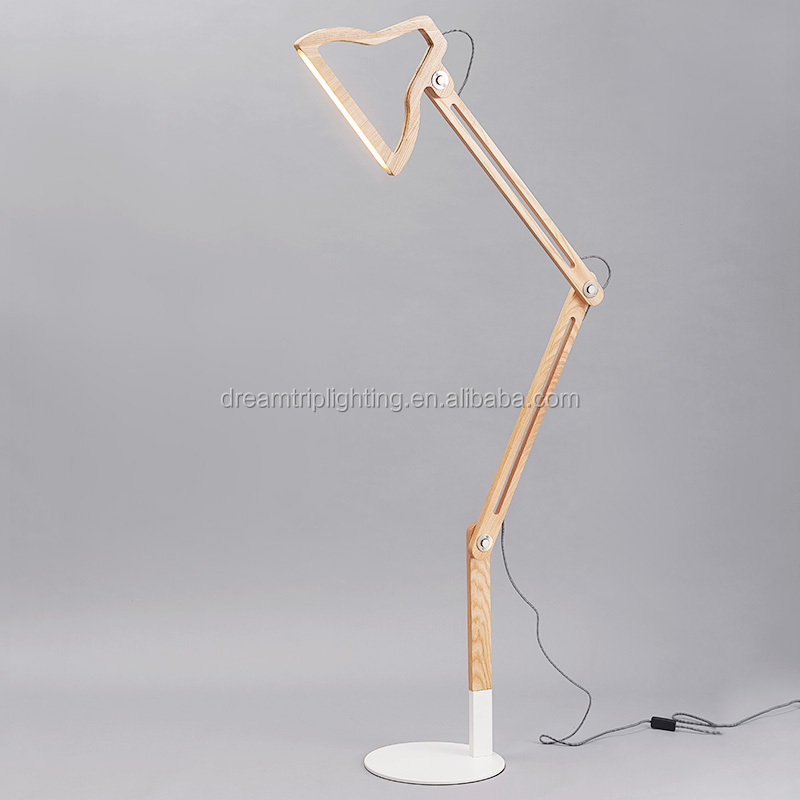 Wooden Tripod Standing Floor Lamps For Living Room