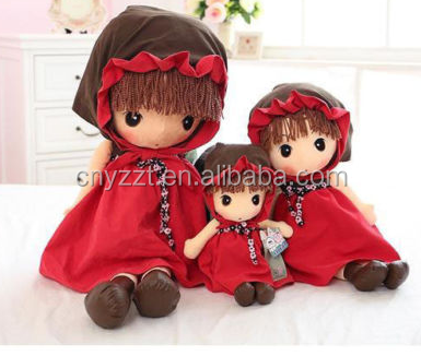Cute Plush Cartoon Girl Rag Doll Cloth Doll Stuffed Toy Handmade Baby Kids Gift