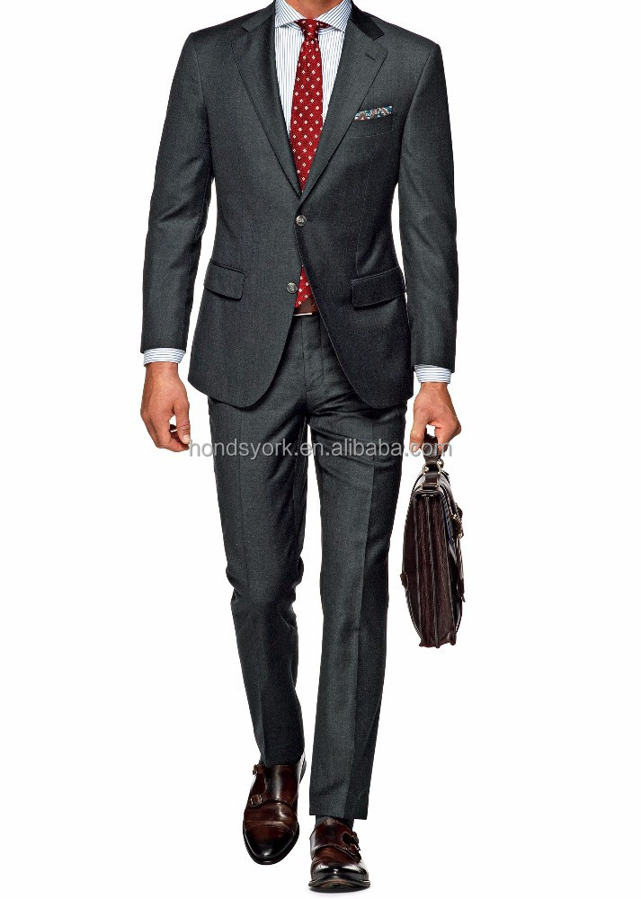 Custom made dark grey plain pure wool Men's wedding suit