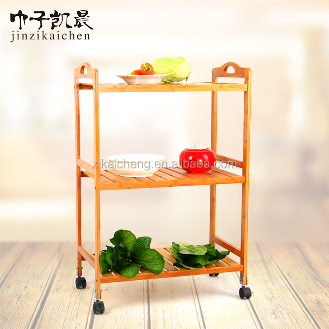 2016 Hot Sale 3-Tier Commercial Bamboo Kitchen Trolley Cart With Wheels