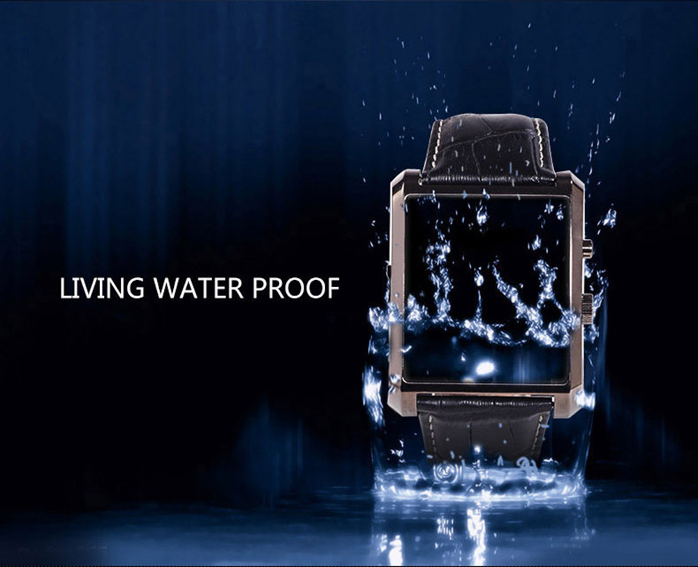 Luxury Leather IPS Full View Smart Watch for Windows Phone DM08 Waterproof Bluetooth Camera Wristwatch for IOS Android Phone