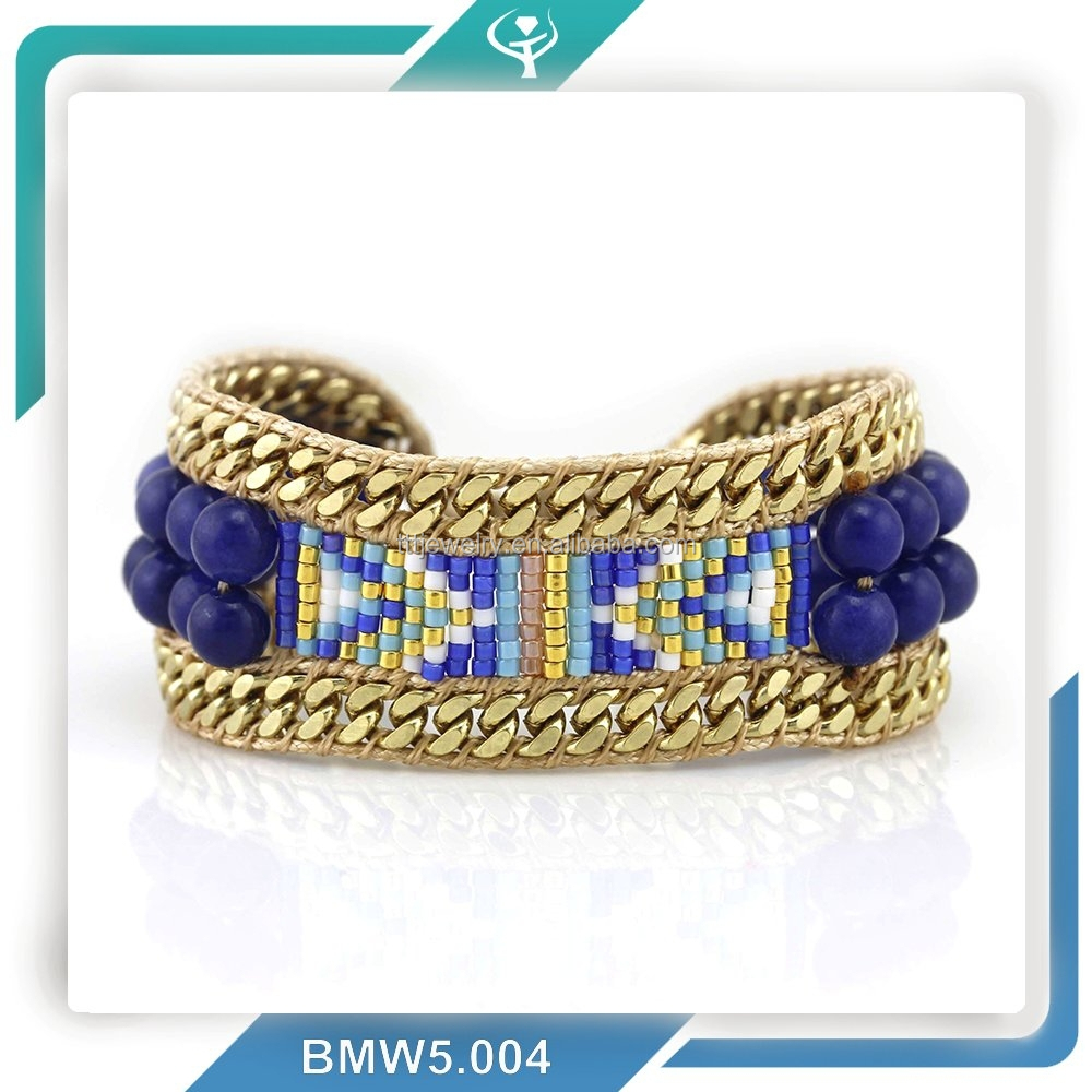 fashion selling new arrivals seed bead stone bracelet with gold plating chain for women