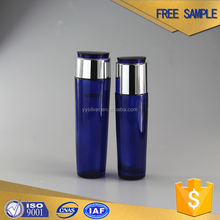 Round glass jars and bottles wth lids for cosmetic skin care packaging