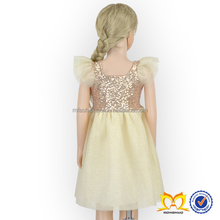 Summer fashion Baby Clothes Princess Party Kids Dresses Ruffle Sleeve Sequin Dress For Girls
