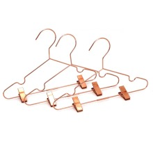 Sale rose gold copper metal wire Baby clothes clip hanger ,coat display metal kid clip hanger