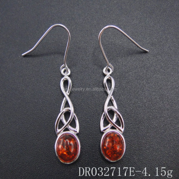 Silver Jewelry Amber Resin Styles For Women Oval Earring DR032717E