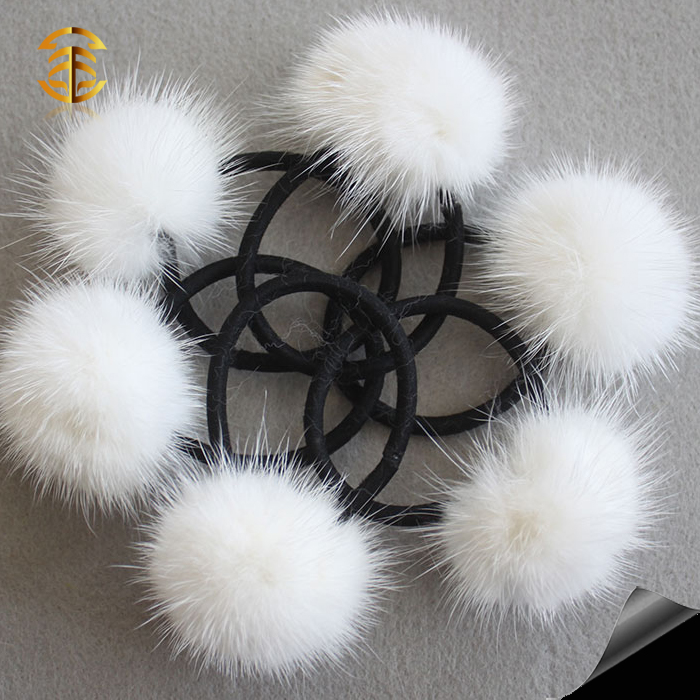 Genuine mink fur bobble/ball elastic cute small fur ball hairband wholesale