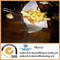 square stainless steel mini fries basket for deep fat fryer