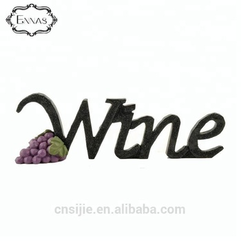 Factory custom made resin home wine words shape decor