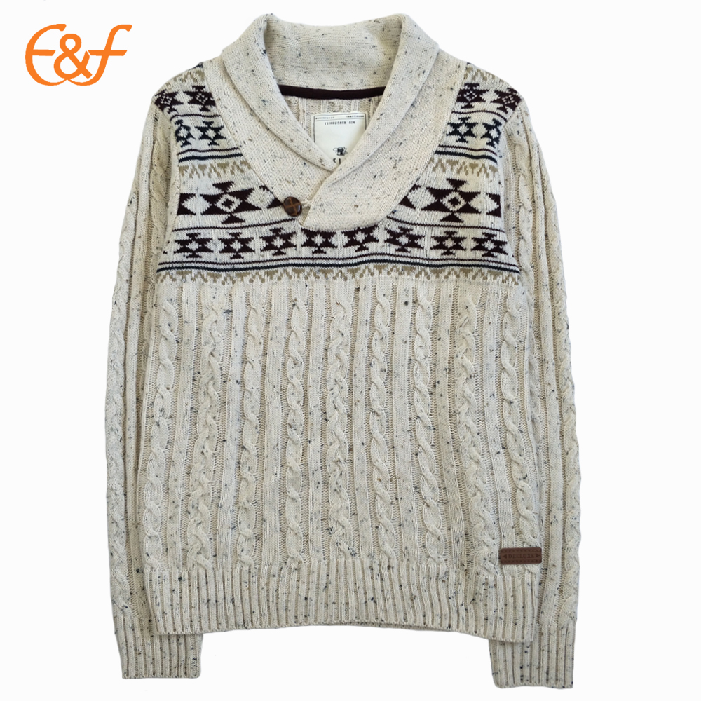 Mens Shawl Collar Cable Knit Sweater With Elbow Patches