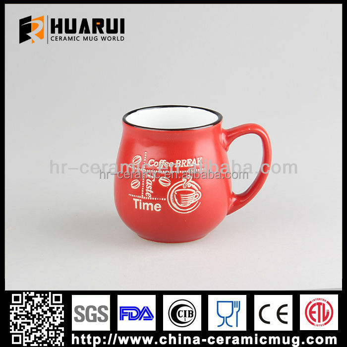 cute Red Belly shape ceramic coffe mug with custom logo
