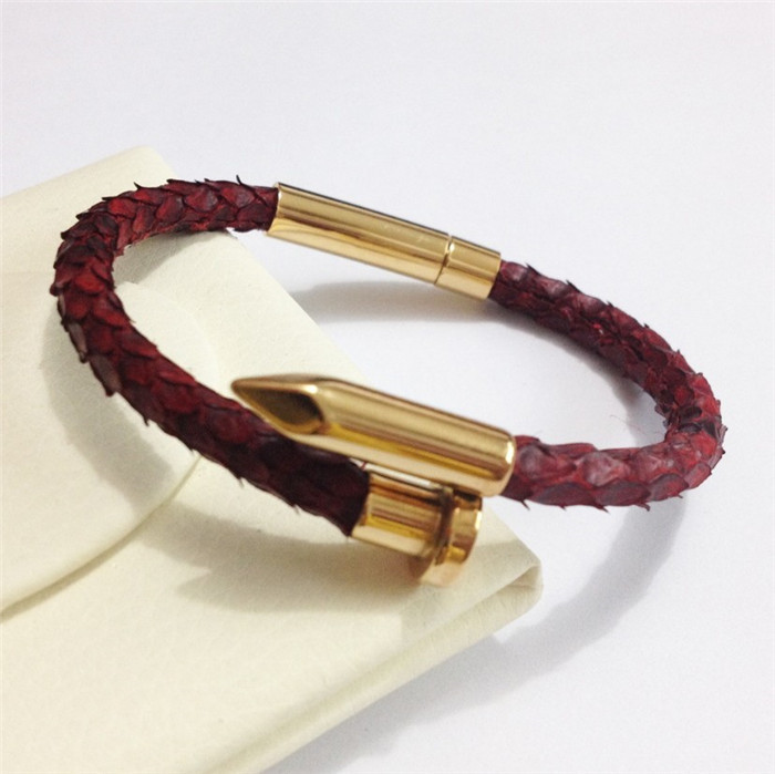 Custom Real Python Leather Gold Rose Gold Nail Bracelet_7